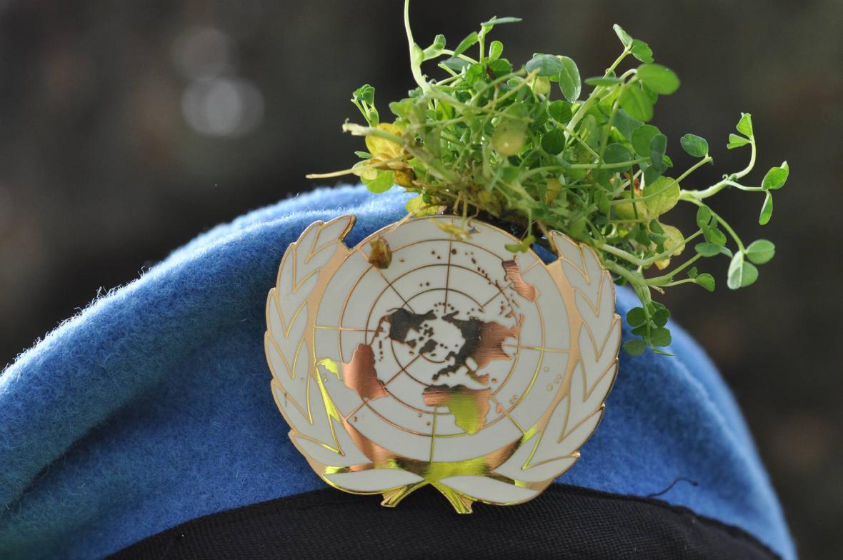 Snítky jetele na baretu irského příslušníka OSN