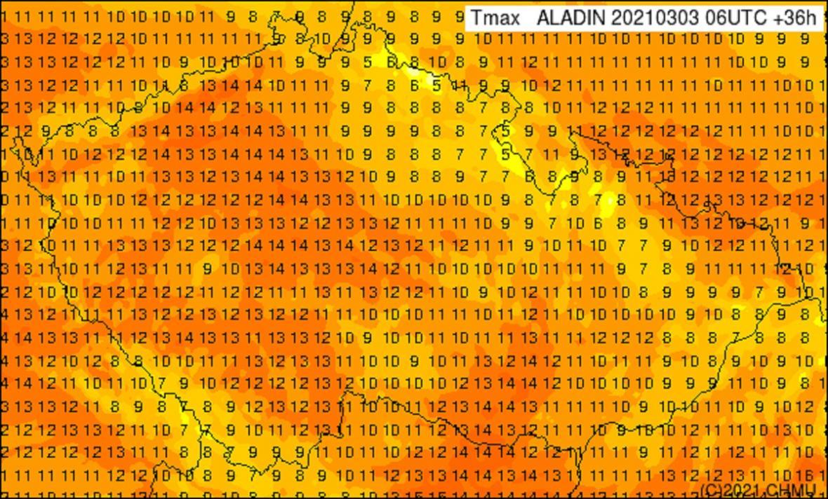 Vpátek budou maxima až o 10 °C nižší než ve čtvrtek