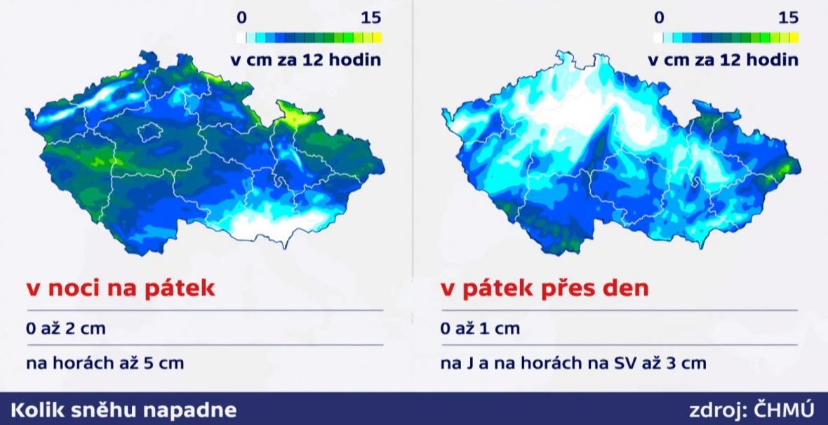 Kolik v Česku napadne sněhu