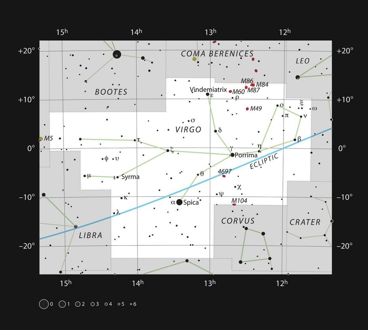 Galaxie M87 v souhvězdí Panny