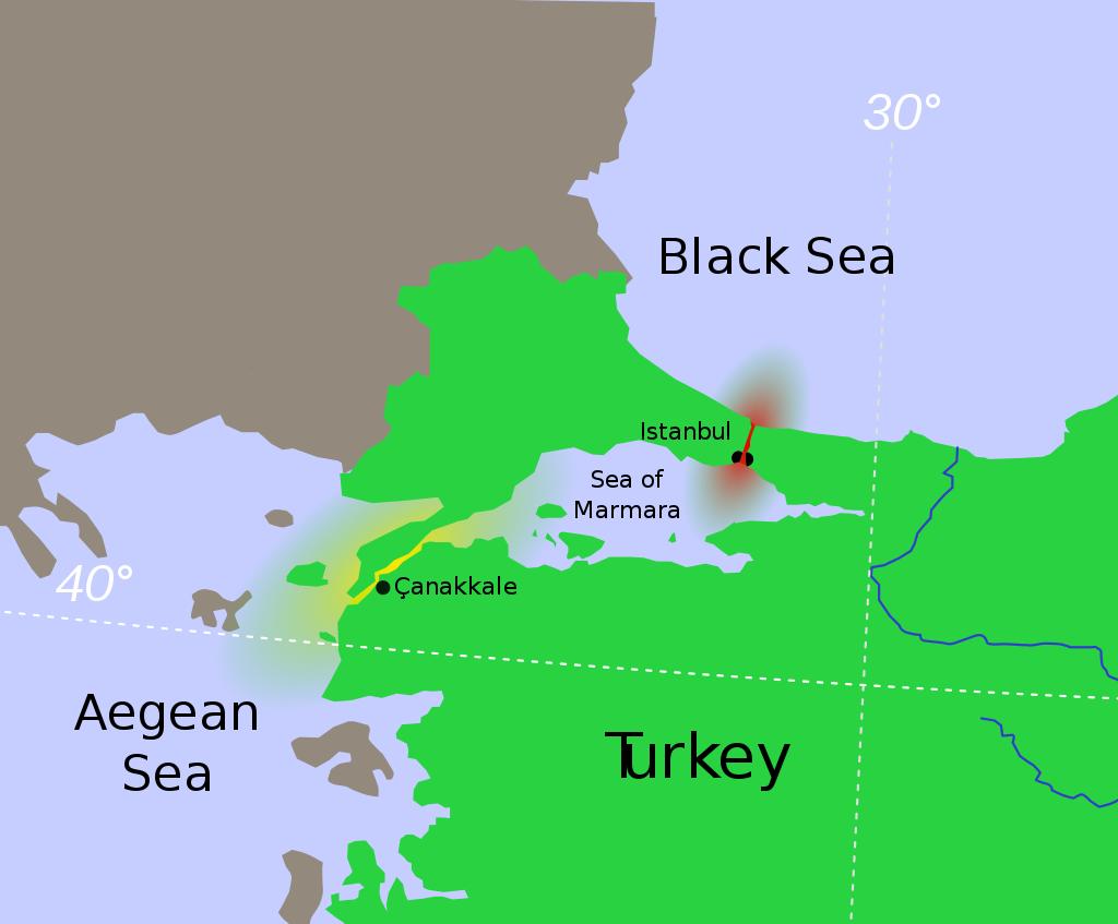 Bospor (červeně) a Dardanely (žlutě)