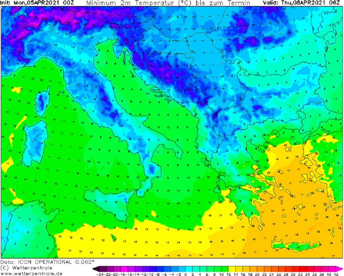 Čtvrteční ranní minima vItálii a na Balkáně klesnou místy pod 0 °C