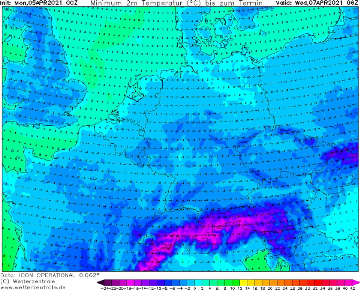 Středeční ranní minima budou ve střední i západní Evropě většinou pod nulou