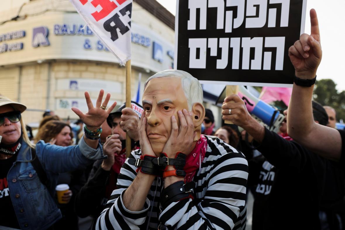 Demonstrace odpůrců Benjamina Netanjahua