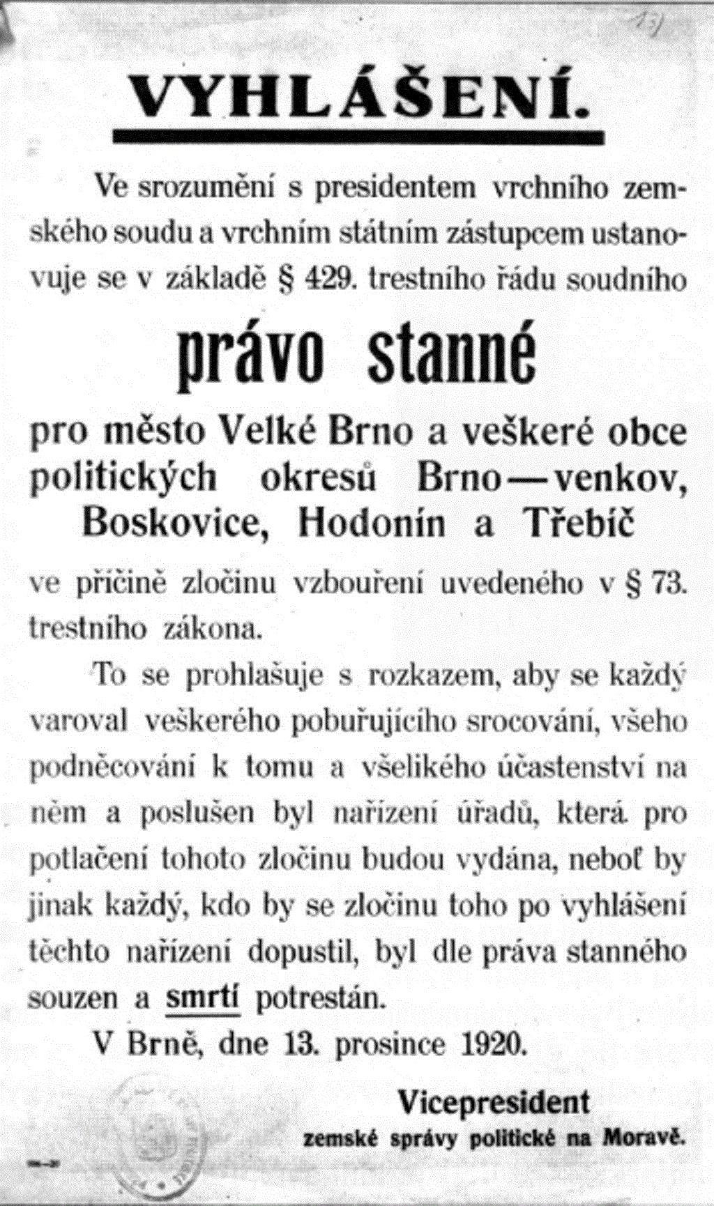 Vyhlášení stanného práva na Brněnsku