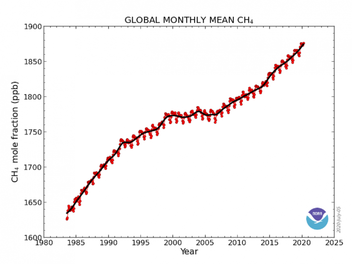 Vývoj koncentrací metanu