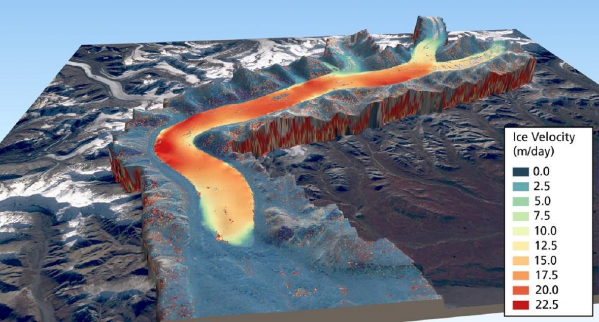 Rychlost pohybu Mulgrewova ledovce