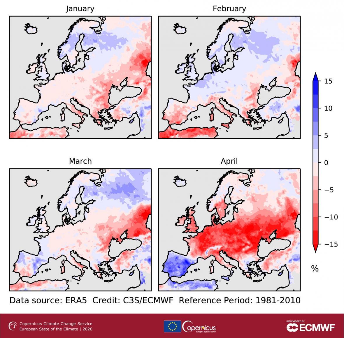 Odchylky půdní vlhkosti (%) za leden až duben 2020 ve srovnání s příslušným měsíčním průměrem pro roky 1981–2010