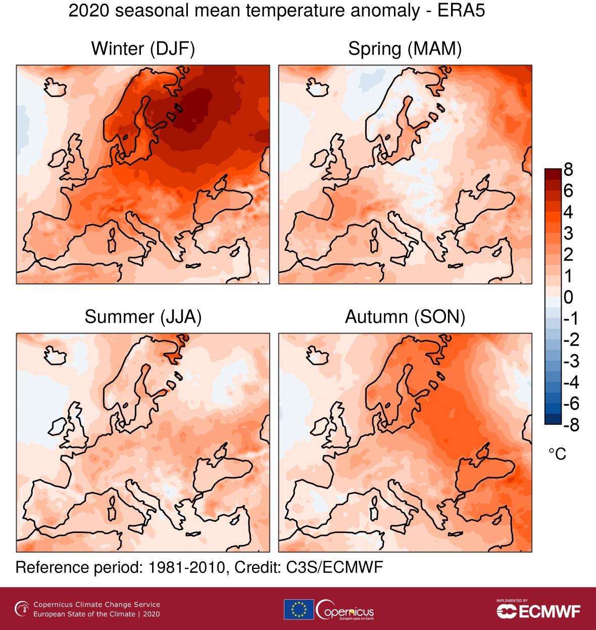 Odchylky teplot povrchového vzduchu pro zimu, jaro, léto a podzim 2020 ve vztahu k příslušnému sezónnímu průměru zlet 1981–2010