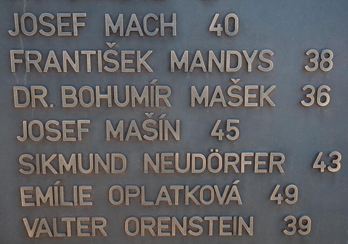 Deska se jmény popravených z Kobyliské střelnice