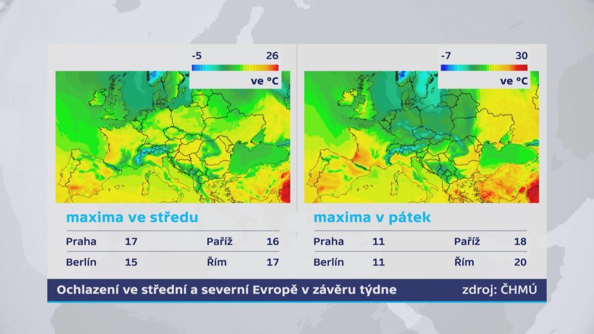 Další ochlazení ve střední Evropě