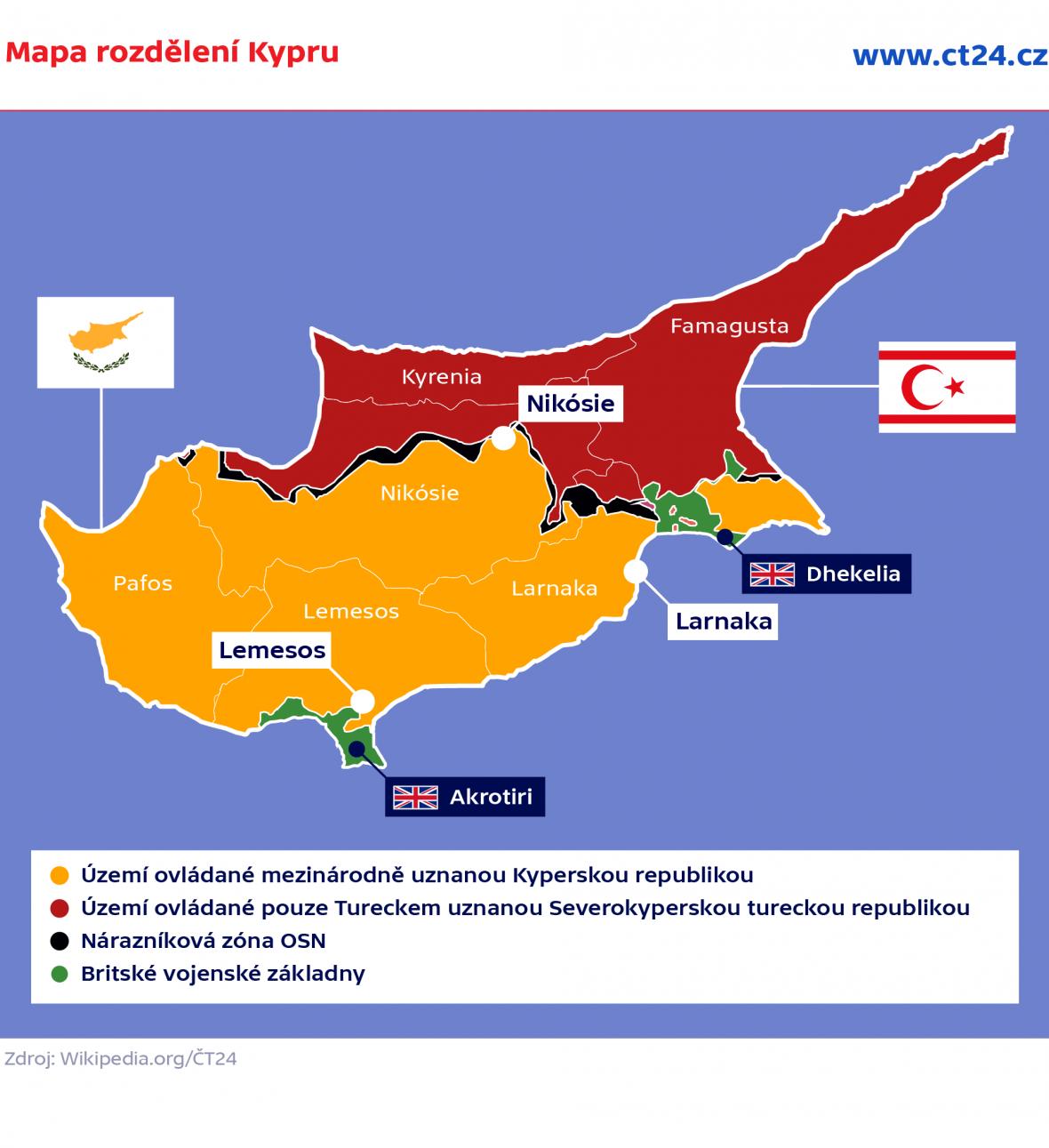 Mapa rozdělení Kypru