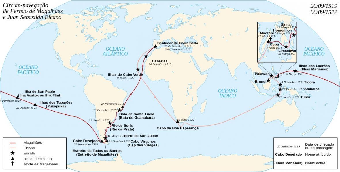 Trasa prvního obeplutí Země