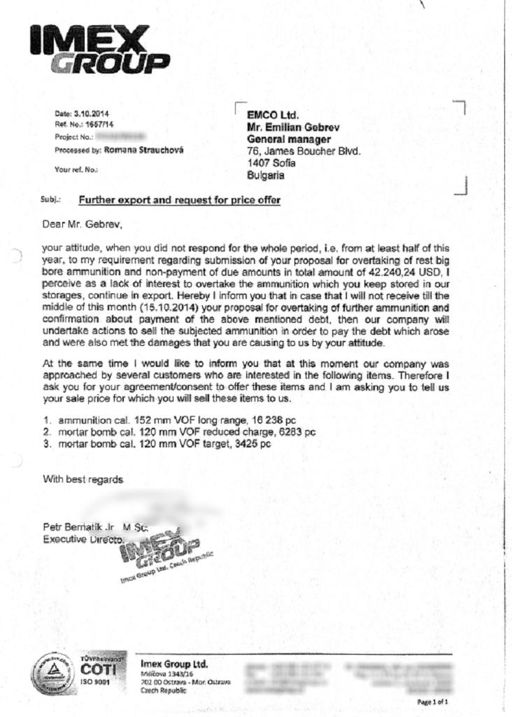 Dopis šéfa firmy Imex bulharskému obchodníkovi Gebrevovi