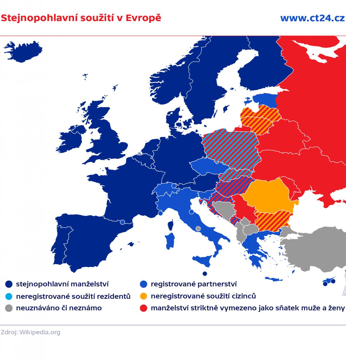 Stejnopohlavní soužití v Evropě