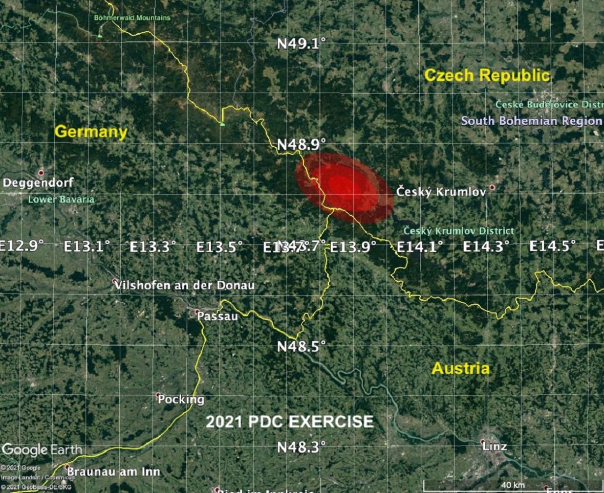 Nejpřesnější místo odhadovaného dopadu neexistujícího asteroidu