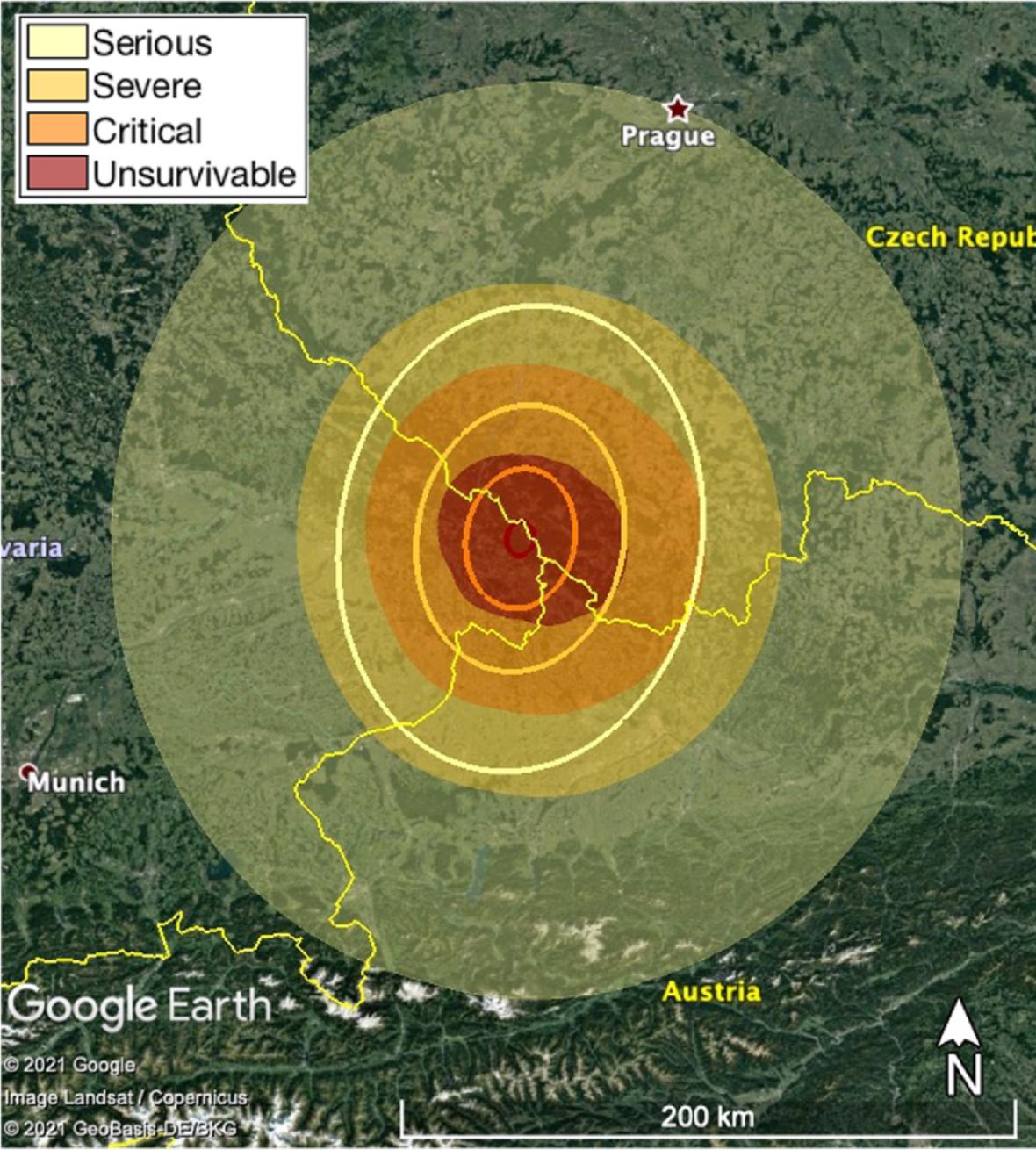 Místa ohrožená dopadem neexistujícího asteroidu