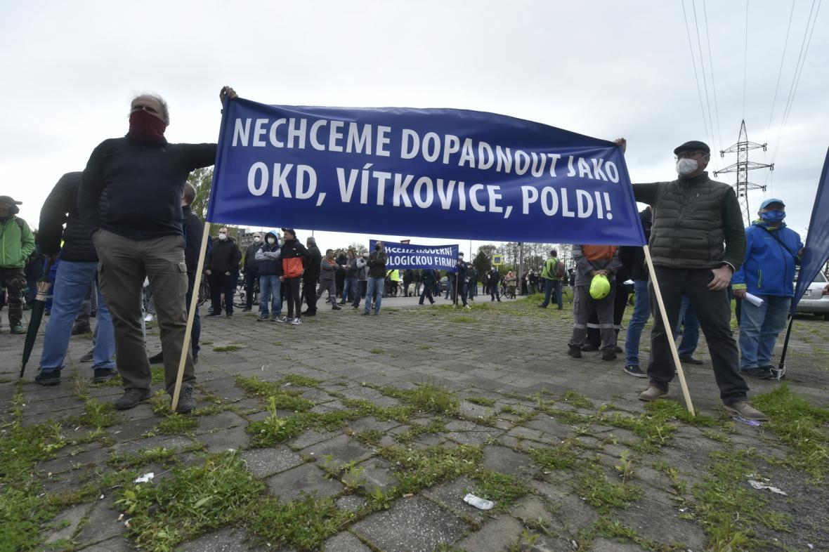 Protestní mítink zaměstnanců Liberty Ostrava