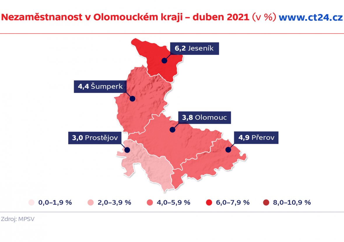 Nezaměstnanost v Olomouckém kraji – duben 2021 (v %)