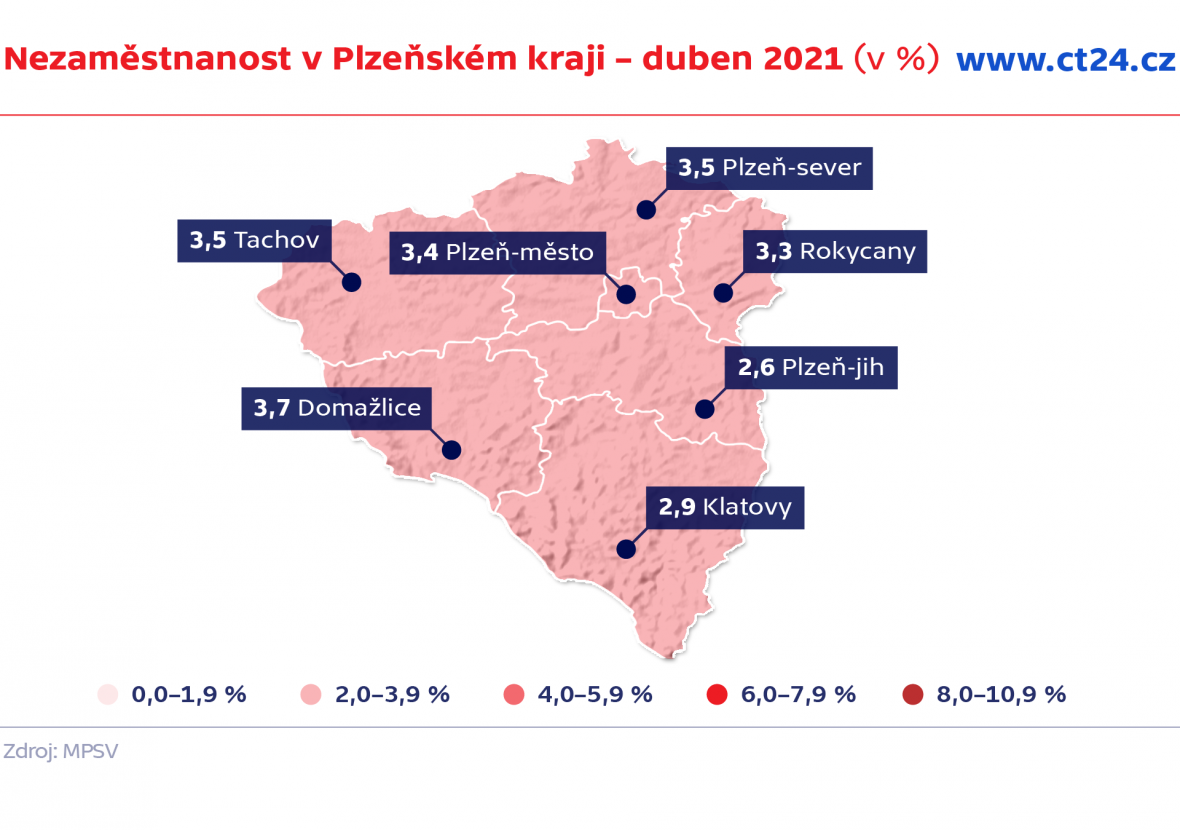 Nezaměstnanost v Plzeňském kraji – duben 2021 (v %)