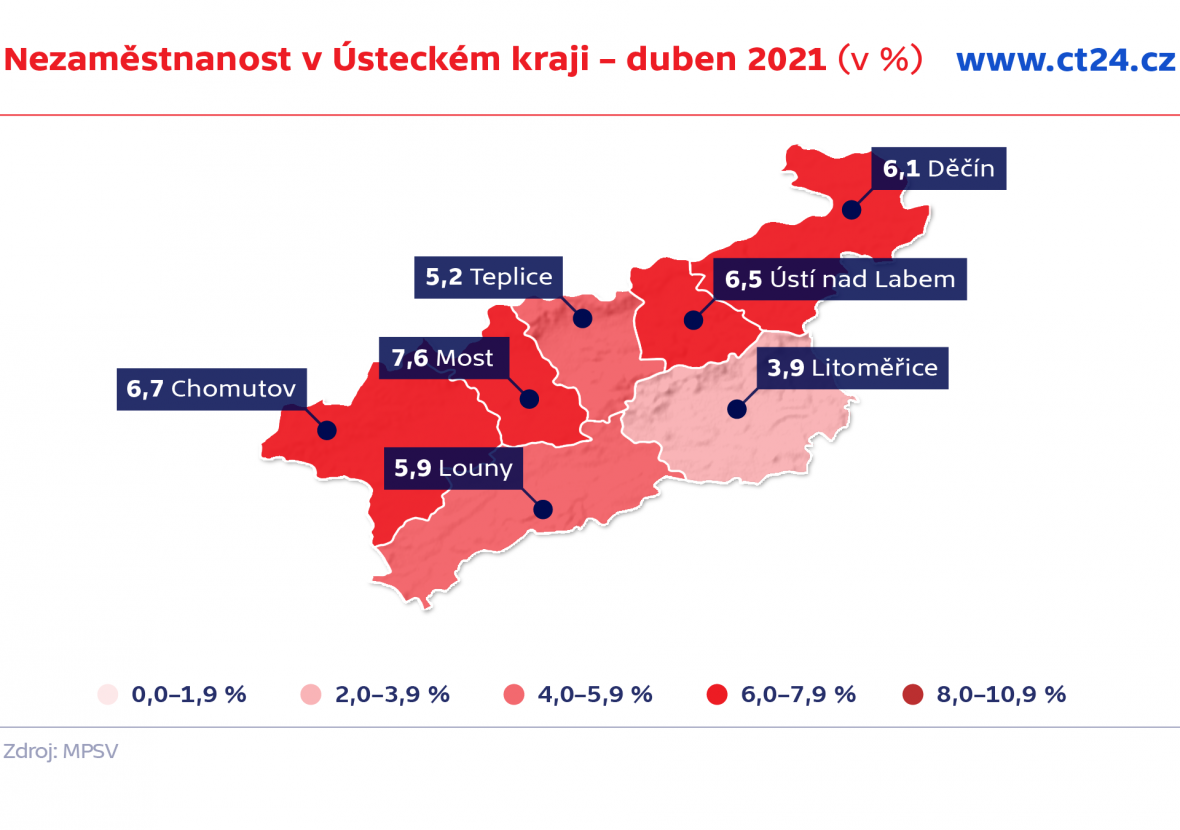Nezaměstnanost v Ústeckém kraji – duben 2021 (v %)