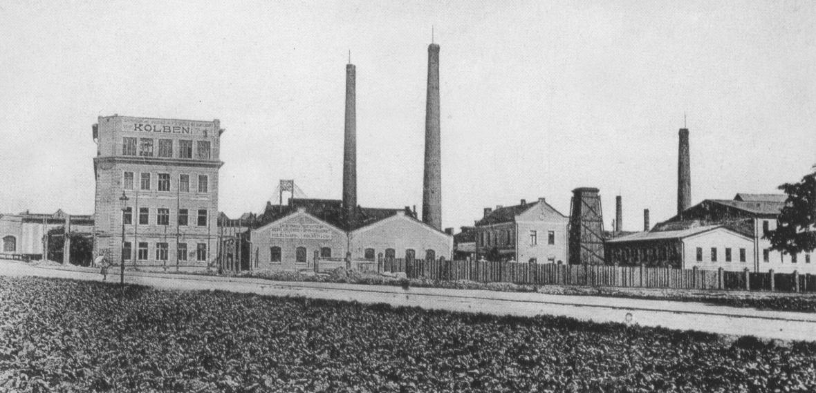 Kolbenova továrna (na snímku před rokem 1909)