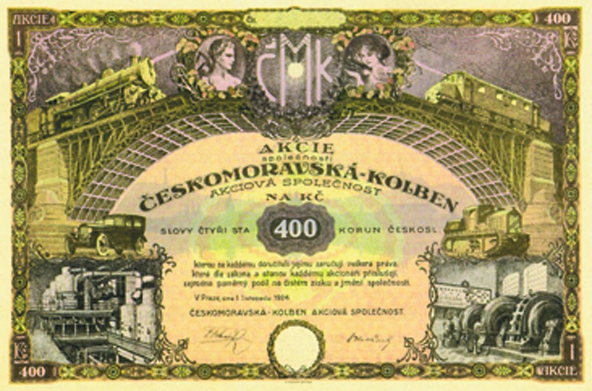 Akcie společnosti Českomoravská - Kolben