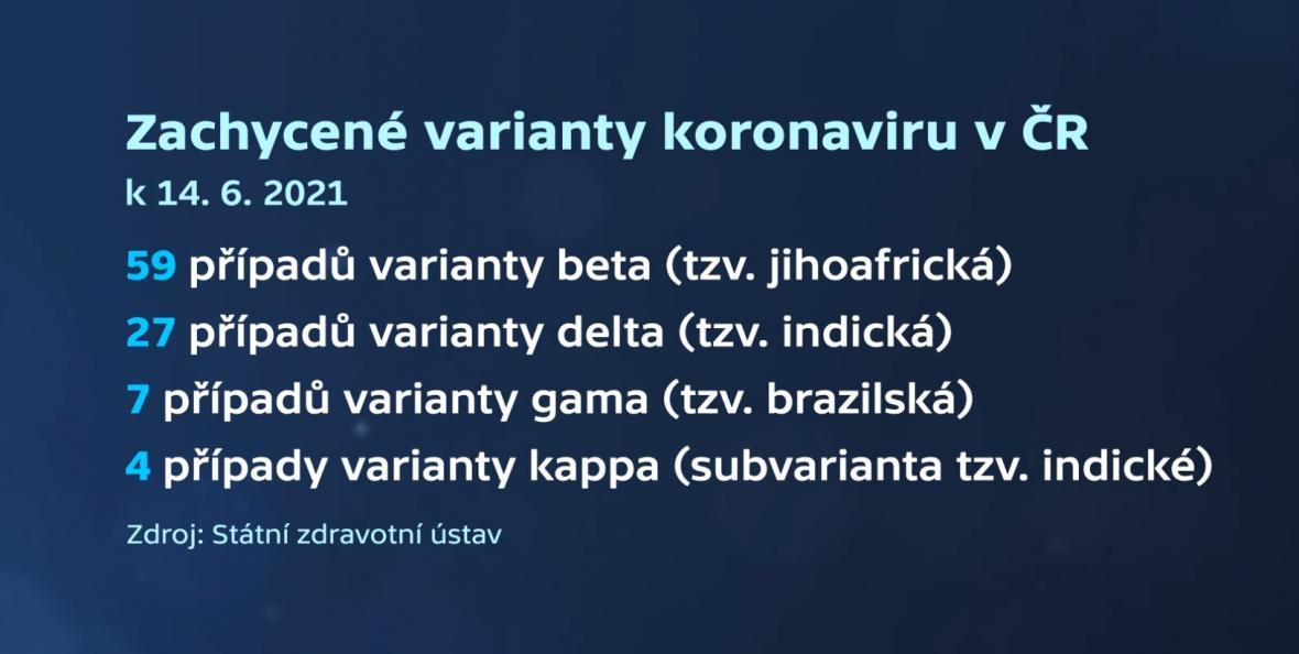 Zachycené varianty koronaviru v Česku