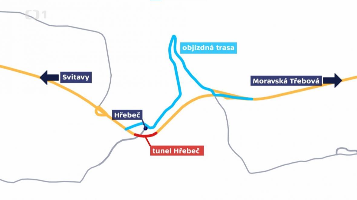 Objízdná trasa uzavřeného tunelu Dřeveč