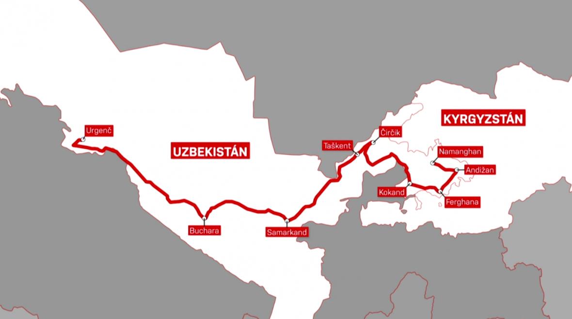 Mapa cesty českých badatelů do Uzbekistánu