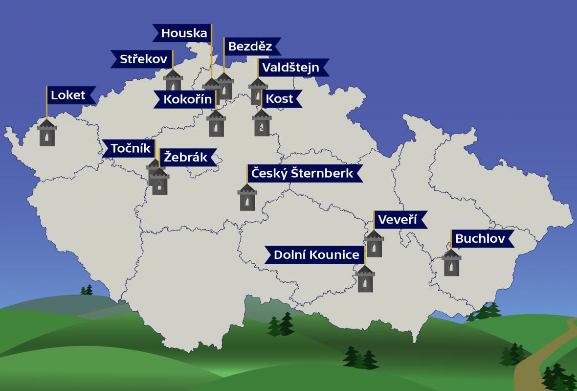 Toulky za hrad(b)y – mapa hradů