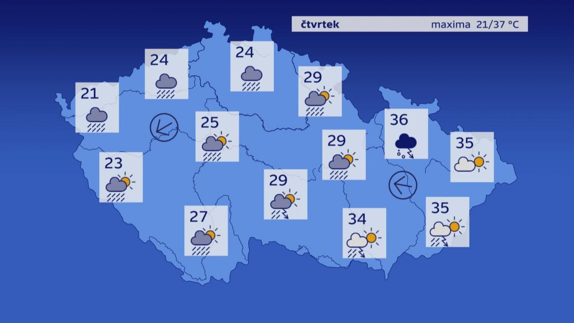 Počasí ve čtvrtek