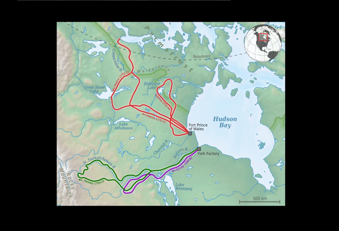 Mapa výpravy Samuela Hearneho