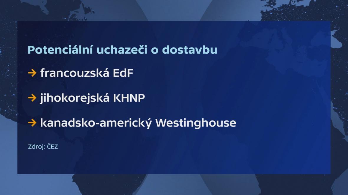 Možní uchazeči o dostavbu dukovanské elektrárny