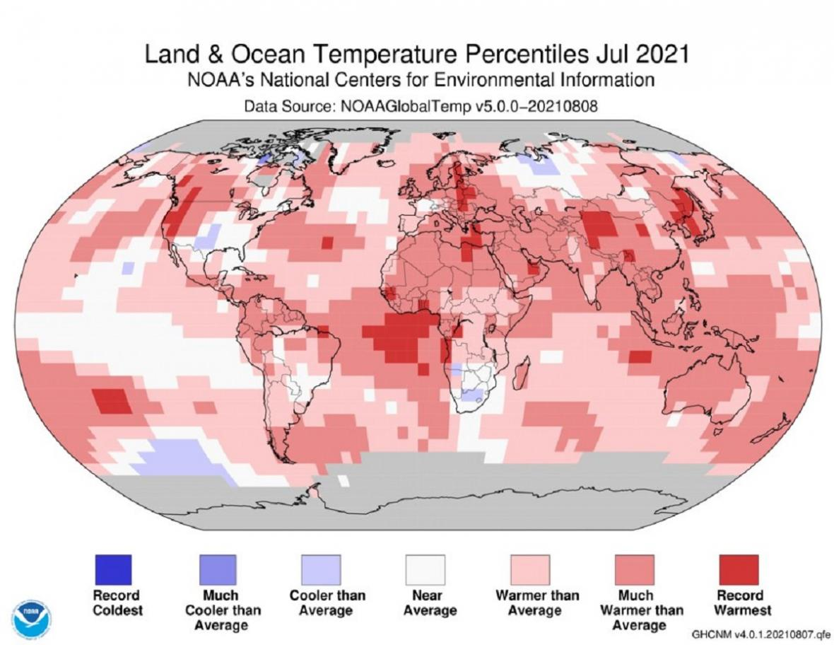 Červenec 2021 podle NOAA