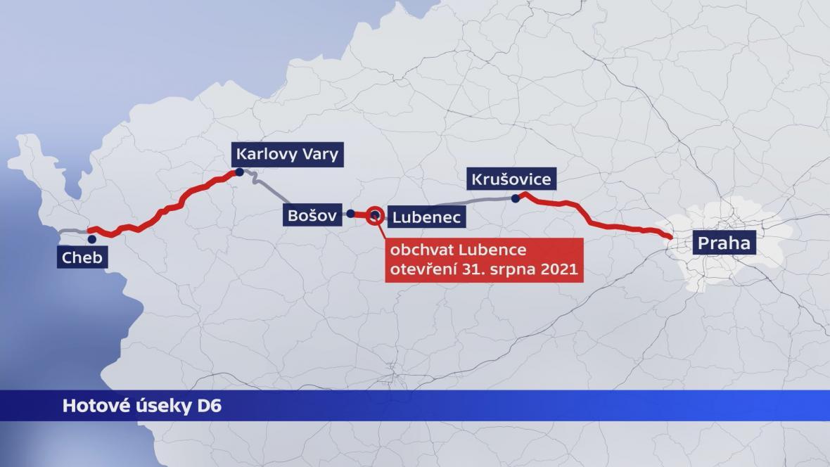 Hotové úseky dálnice D6
