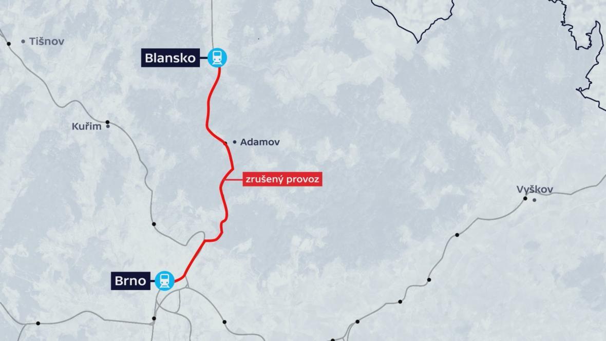 Výluka omezí dopravu mezi Brnem a Blanskem