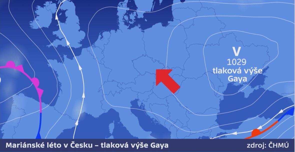 Tlaková výše má střed nad východní Evropou - dostala jméno Gaya