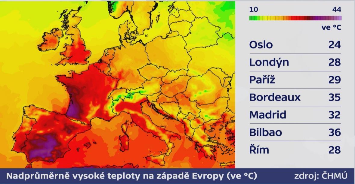 Vysoké teploty v západní Evropě i na Britských ostrovech