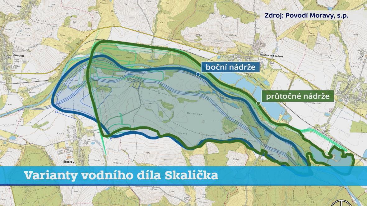 Varianty vodního díla Skalička