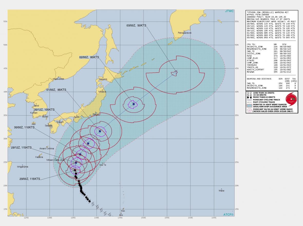 Předpověď vývoje tajfunu Mindulle