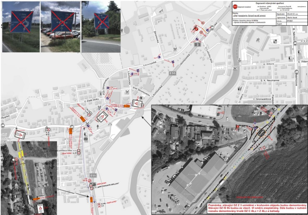 Řešení kruhového objezdu v Litvínovicích