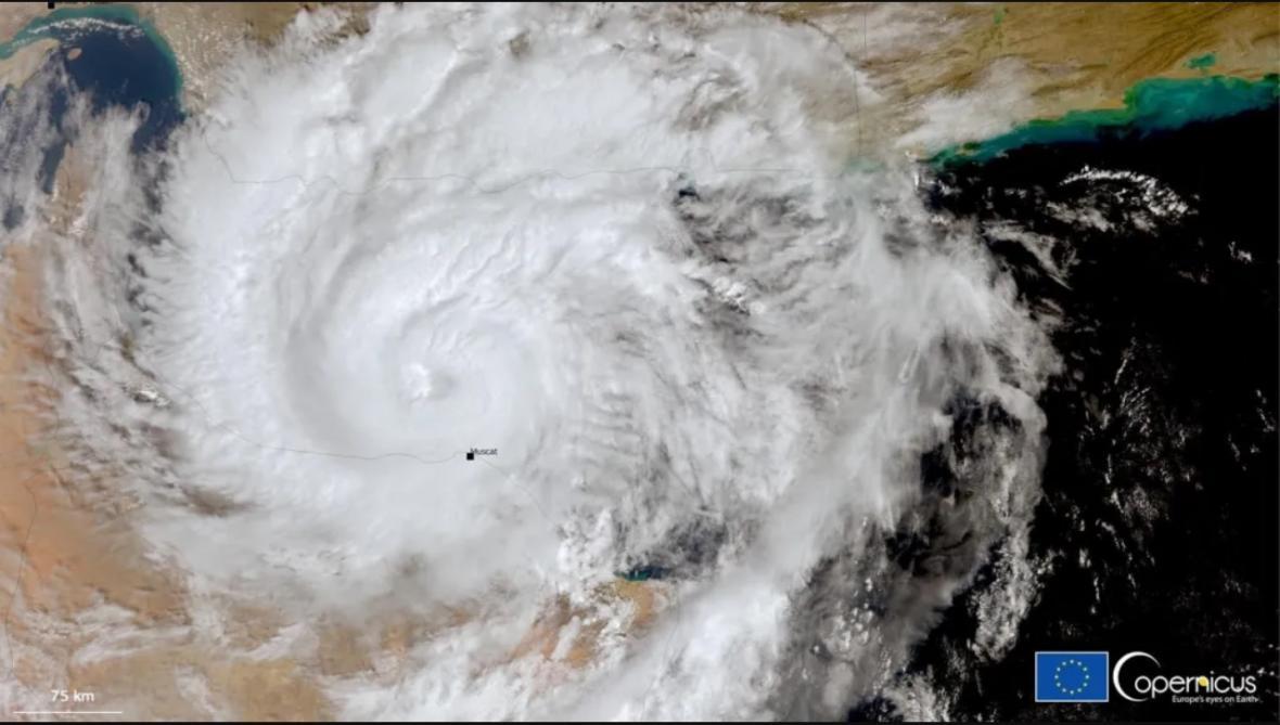 Cyklon Shaheen z družice systému Copenicus
