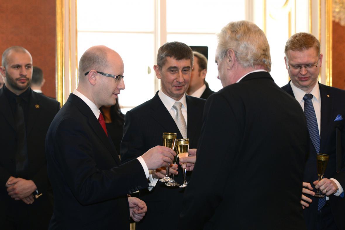 Bohuslav Sobotka, Andrej Babiš a prezident Miloš Zeman