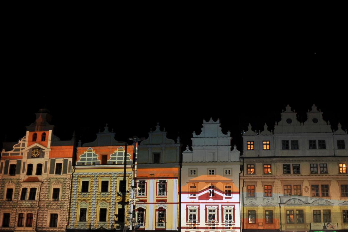 Zkouška videomappingu na zahájení Plzeň 2015
