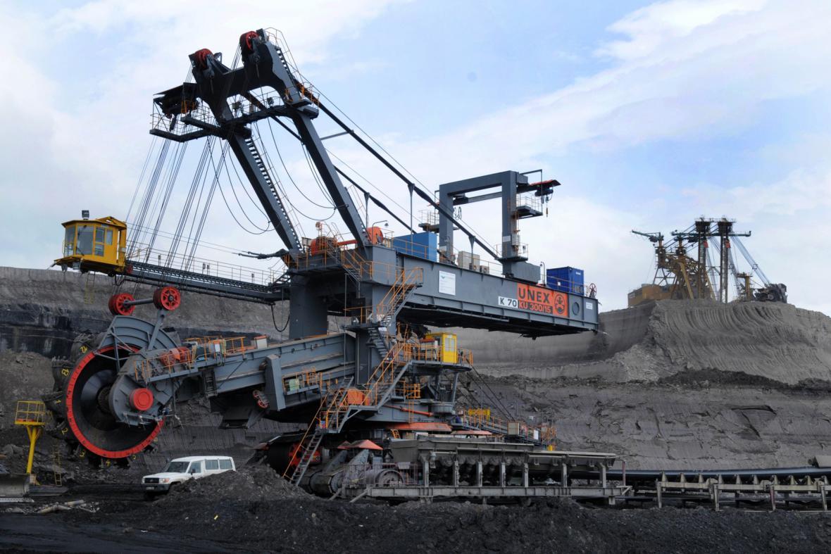 Těžba uhlí - kolesové rypadlo