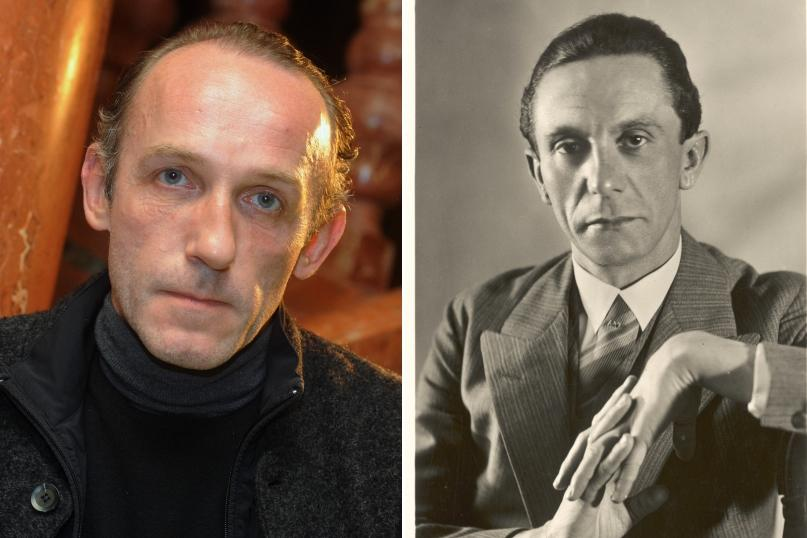 Vlevo: herec Karel Markovics; vpravo: říšský ministr propagandy Joseph Goebbels