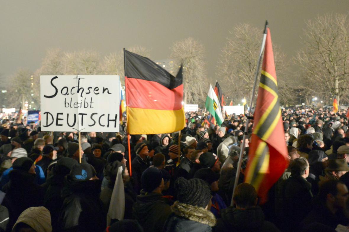 Účastníci demonstrace hnutí Pegida