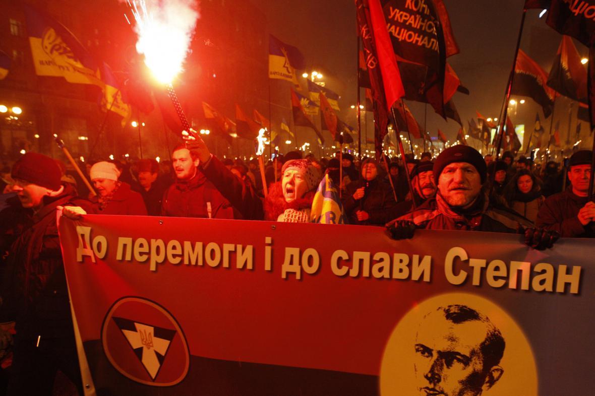 Pochod Banderových příznivců v Kyjevě