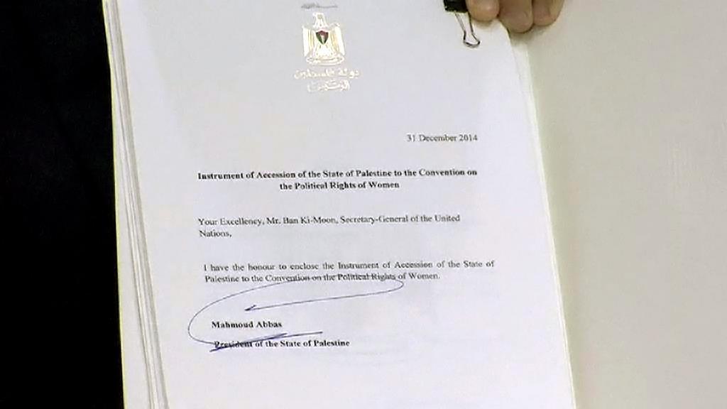 Jeden z dokumentů předaných Palestinou zpravodajcům OSN